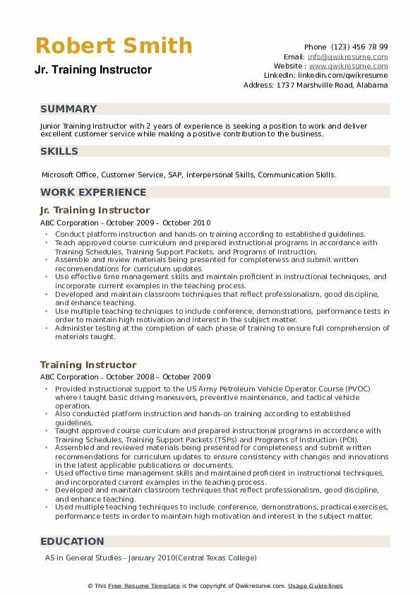 Jr. Training Instructor Resume Template