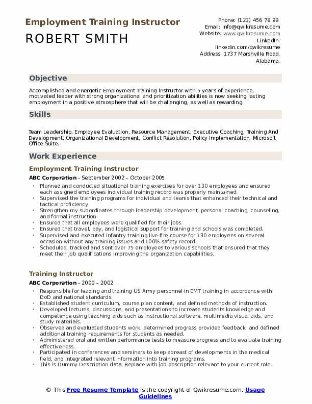 Employment Training Instructor  Resume Format