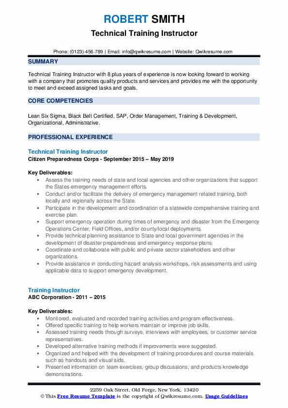 Technical Training Instructor Resume Sample