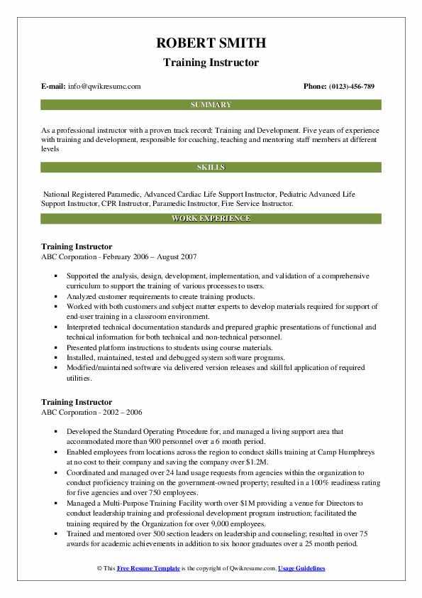 Training Instructor Resume example