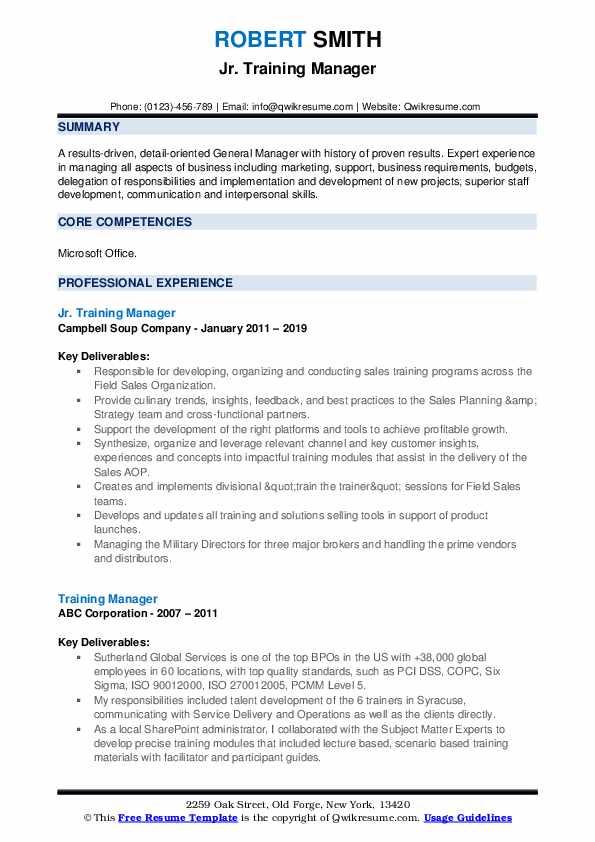Jr. Training Manager Resume Sample