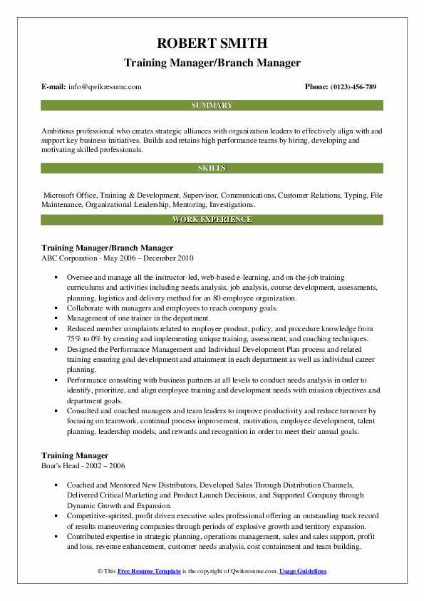 Training Manager/Branch Manager Resume Example