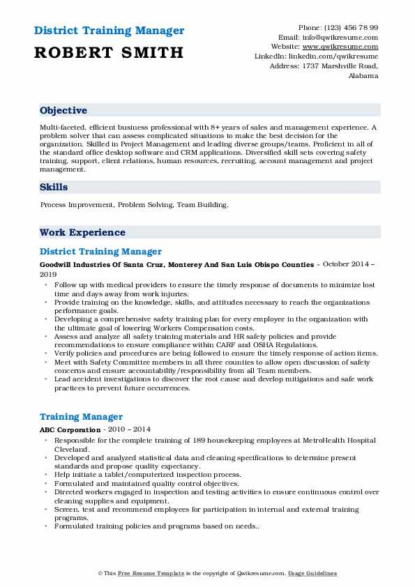 District Training Manager Resume Model