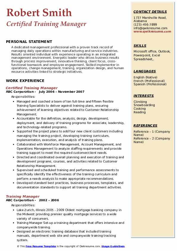 Certified Training Manager Resume Template