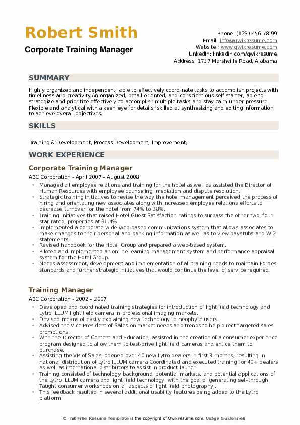 Corporate Training Manager Resume Format