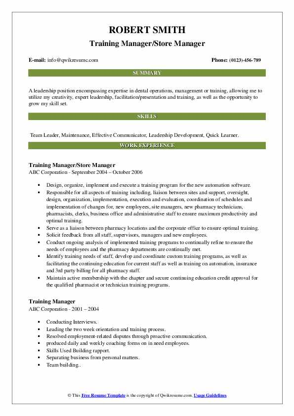 Training Manager/Store Manager Resume Sample