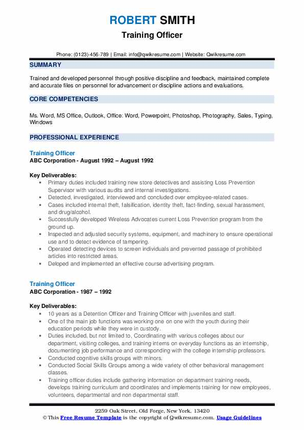 Training Officer Resume example