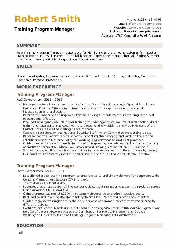 Training Program Manager Resume example