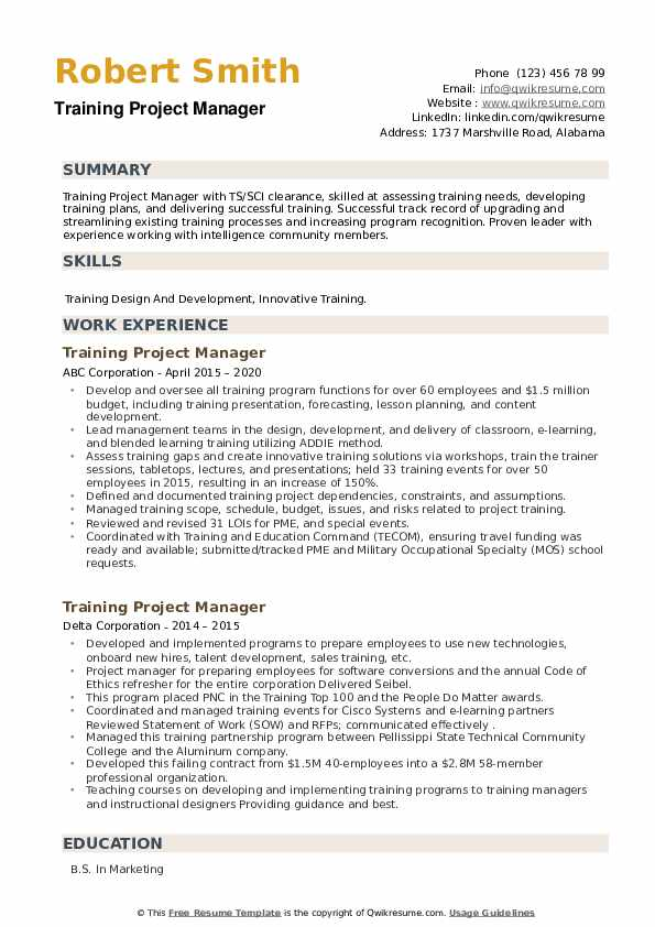 Training Project Manager Resume example