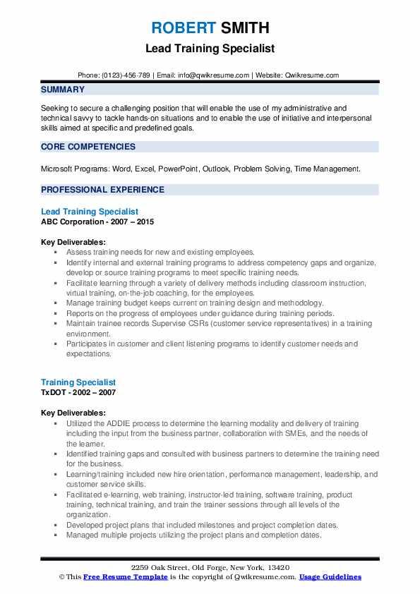 Lead Training Specialist Resume Example