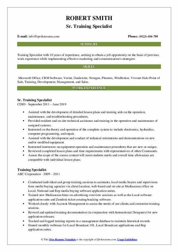 Sr. Training Specialist Resume Format