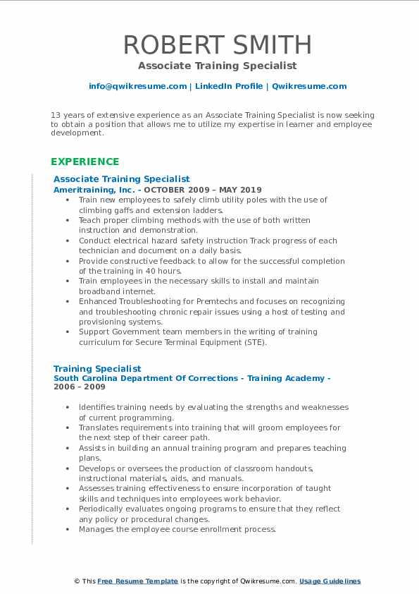 Associate Training Specialist Resume Sample