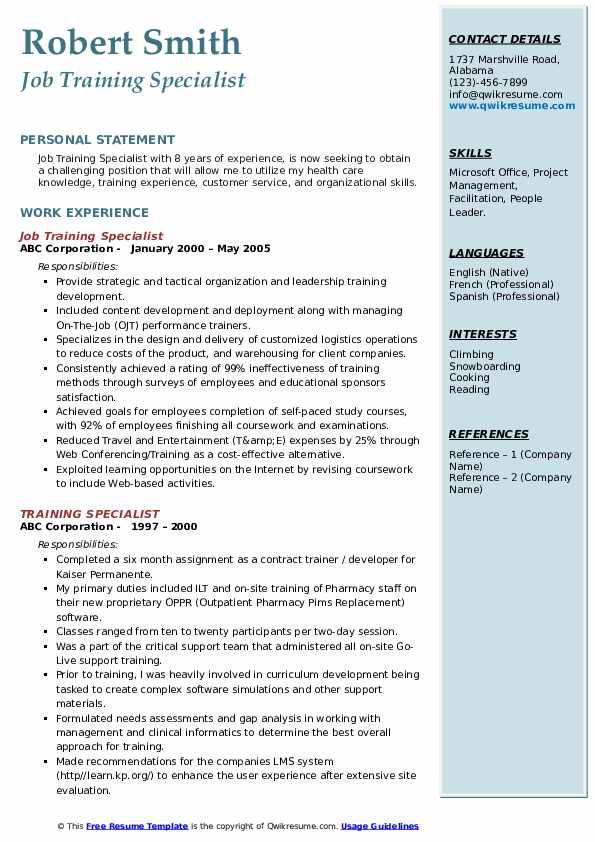 Job Training Specialist Resume Format