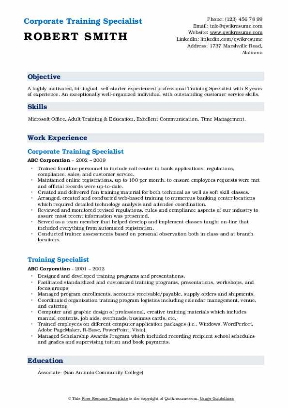 Corporate Training Specialist Resume Template