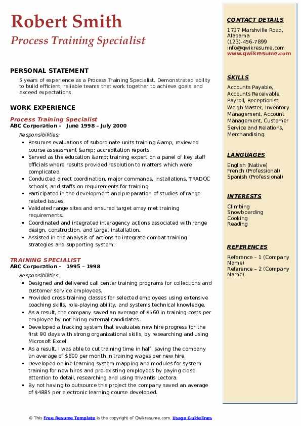 Process Training Specialist Resume Format