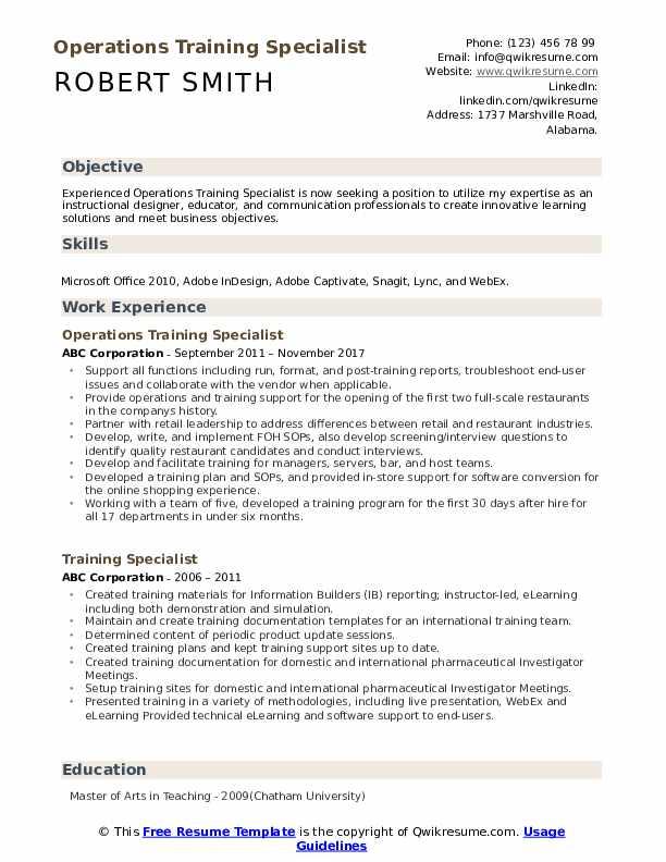 Operations Training Specialist Resume Sample