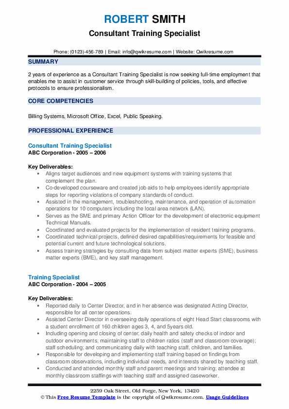 Consultant Training Specialist Resume Model