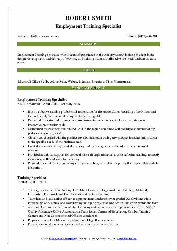 Employment Training Specialist Resume Format