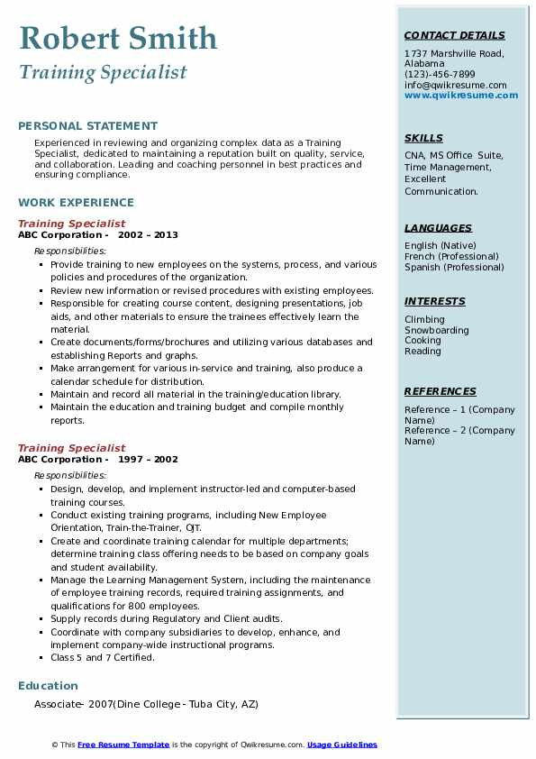 Training Specialist Resume example