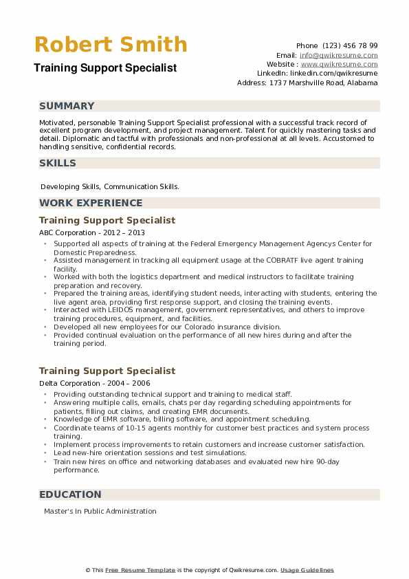 Training Support Specialist Resume example