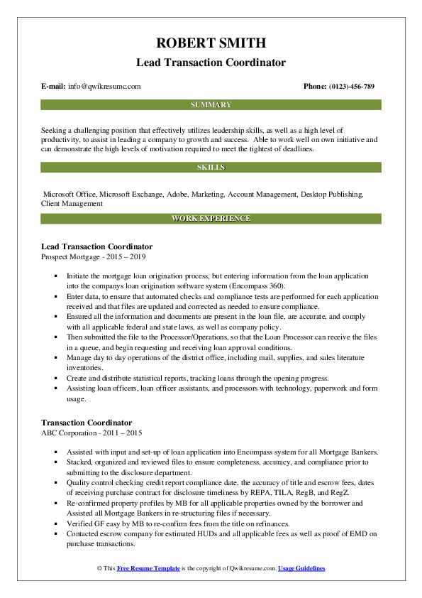 Lead Transaction Coordinator Resume Example