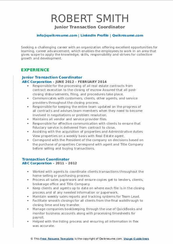 Junior Transaction Coordinator Resume Example