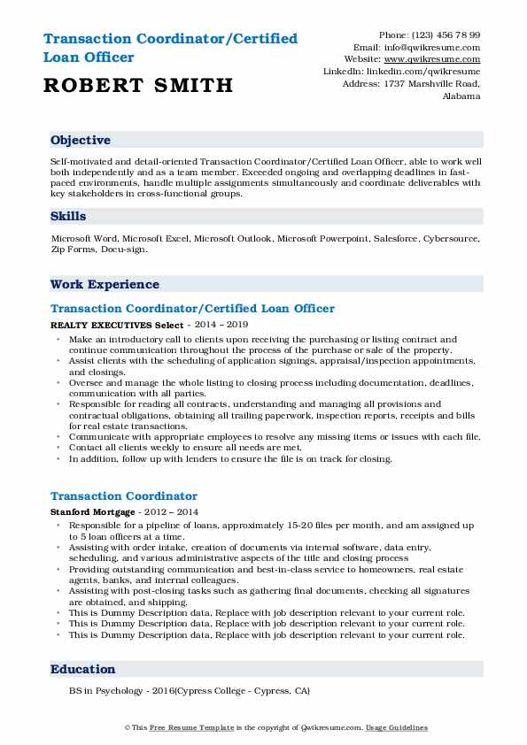 Transaction Coordinator/Certified Loan Officer Resume Template