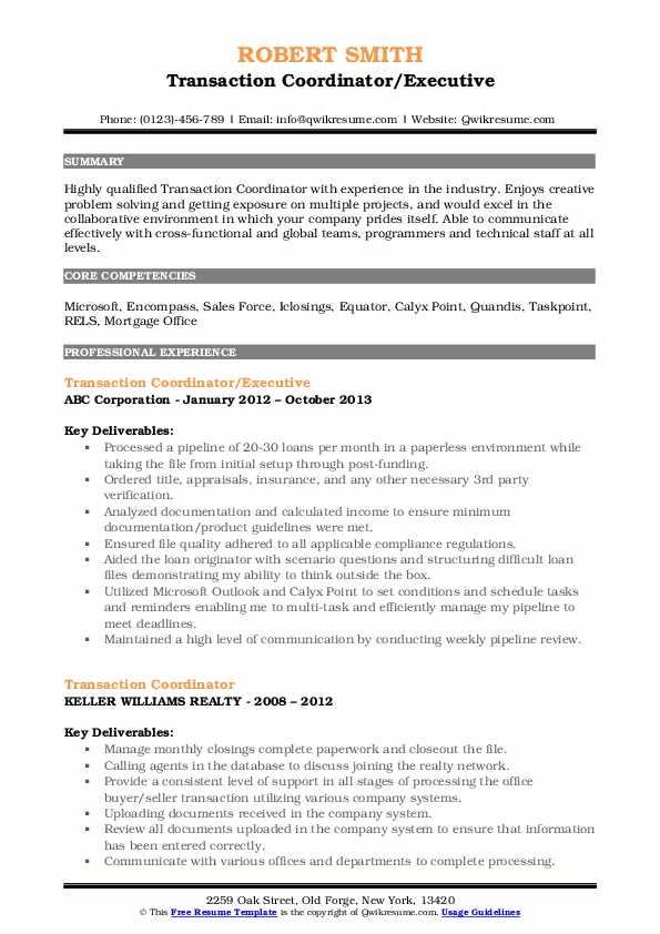 Transaction Coordinator/Executive Resume Format