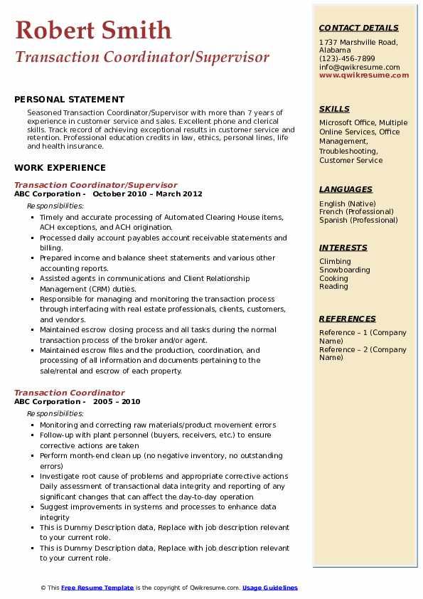 Transaction Coordinator/Supervisor  Resume Format