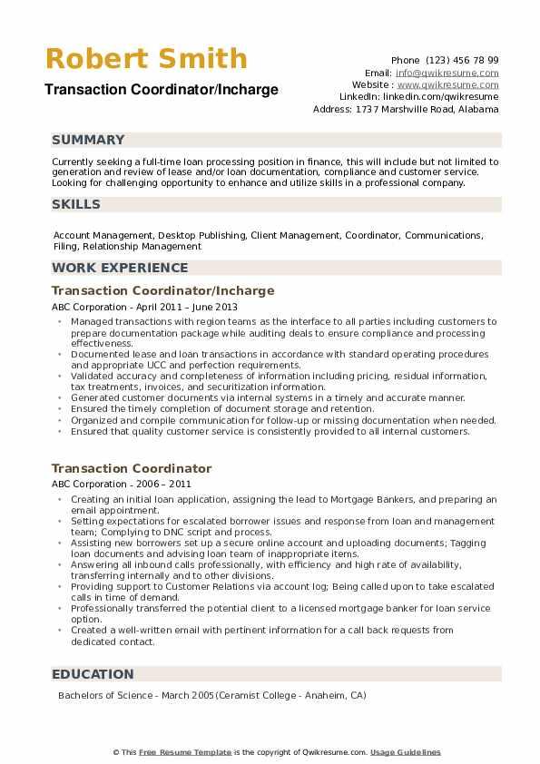 Transaction Coordinator/Incharge Resume Template