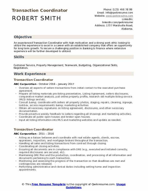 Transaction Coordinator Resume example