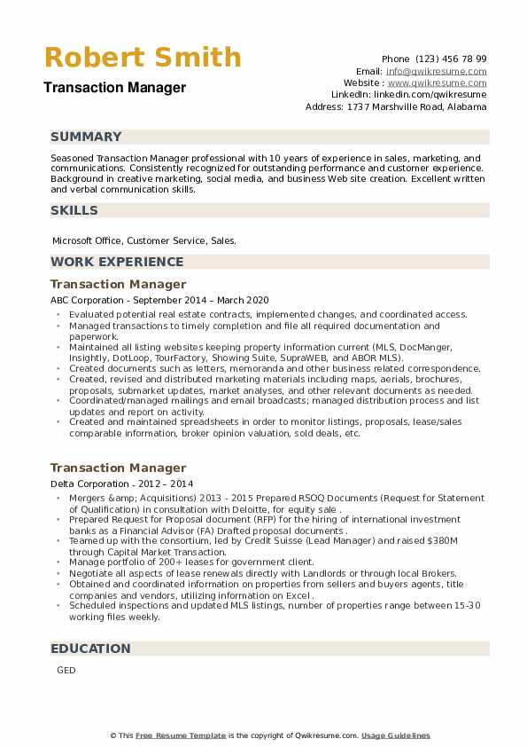 Transaction Manager Resume example
