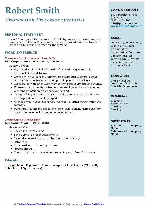 Transaction Processor Specialist Resume Format
