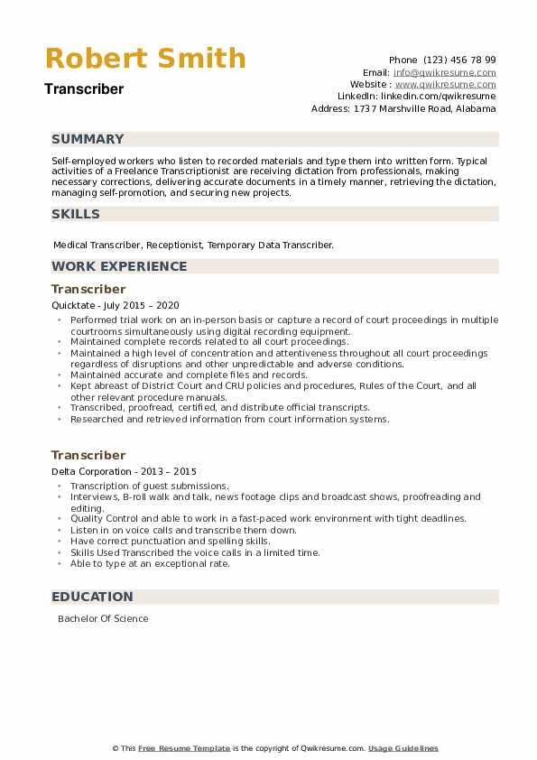 Transcriber Resume example