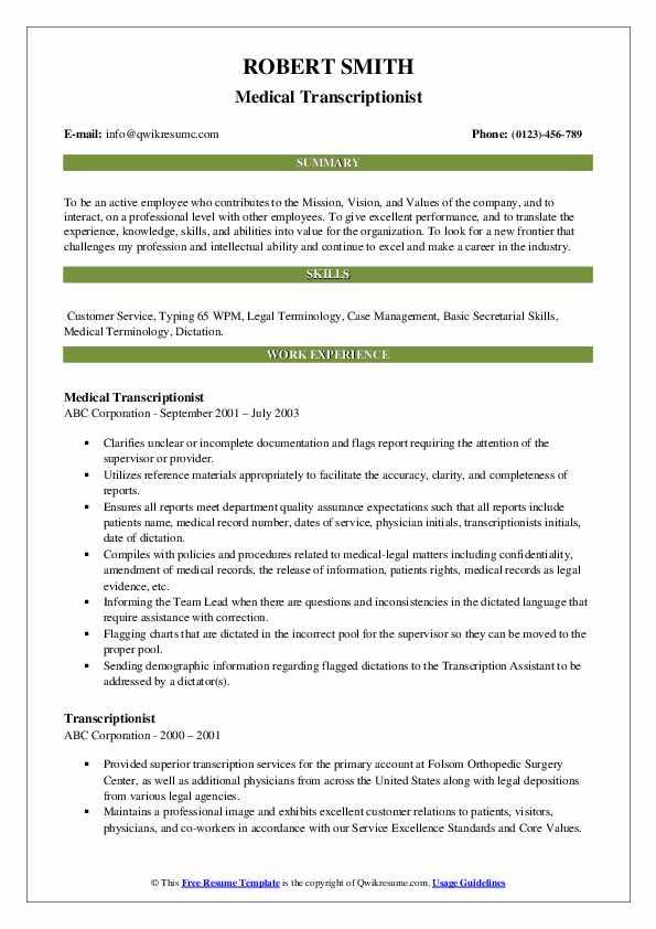 Medical Transcriptionist Resume Format