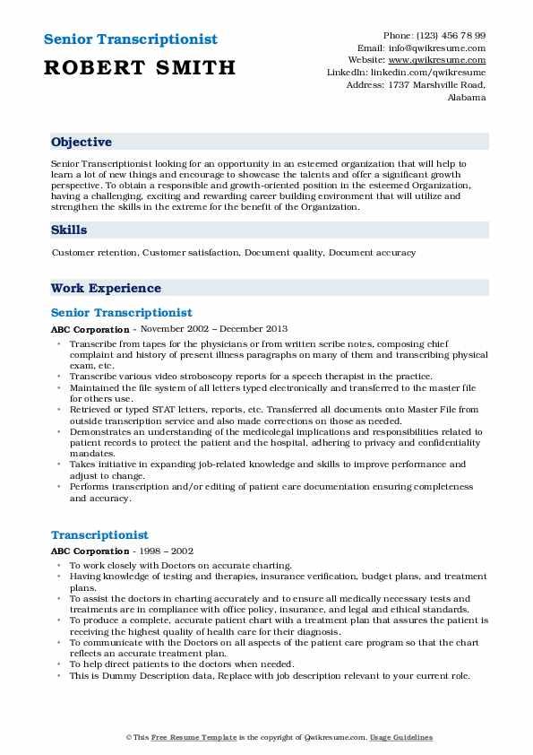 Senior Transcriptionist Resume Example