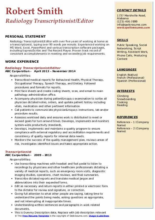 transcriptionist resume samples