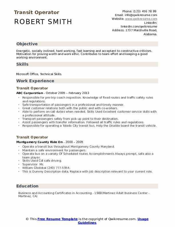 Transit Operator Resume example