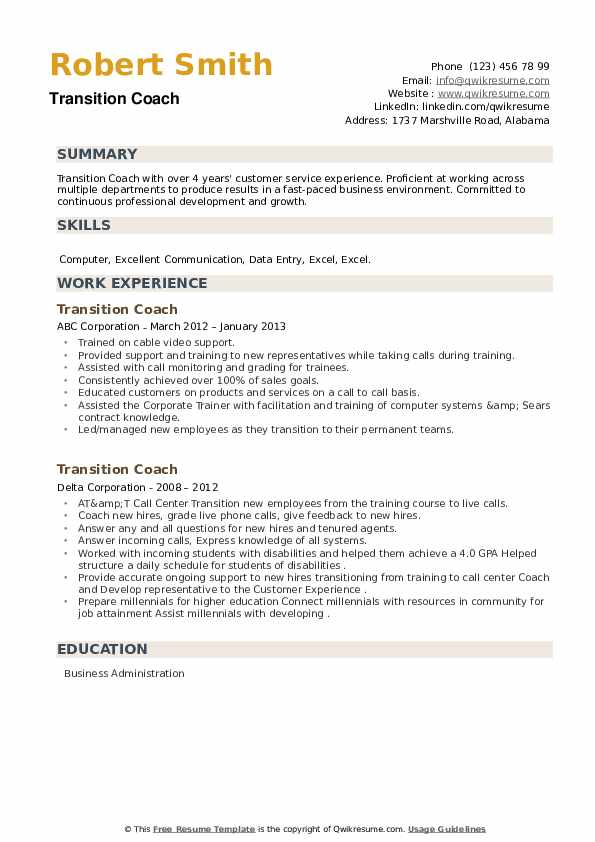 Transition Coach Resume example