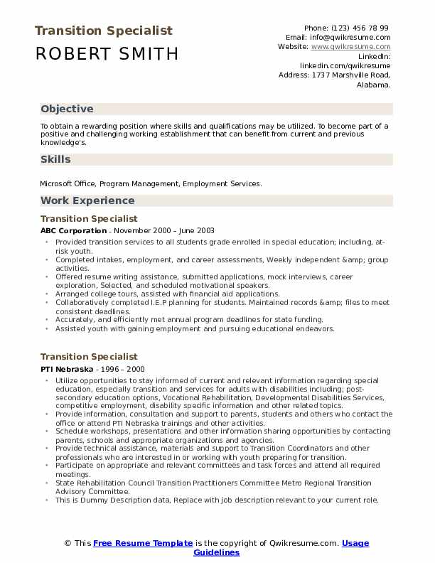 Transition Specialist Resume example
