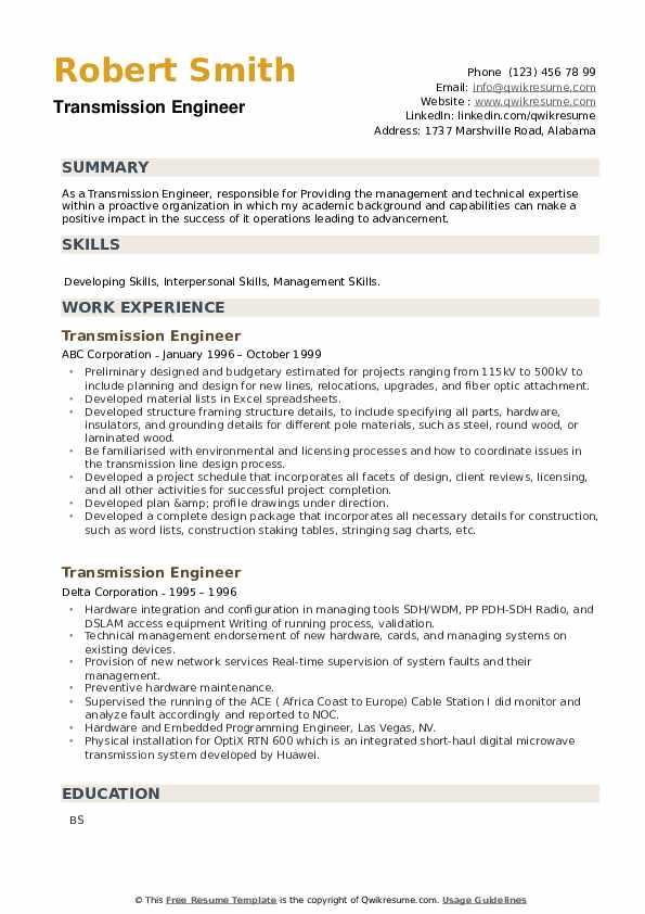 Transmission Engineer Resume example