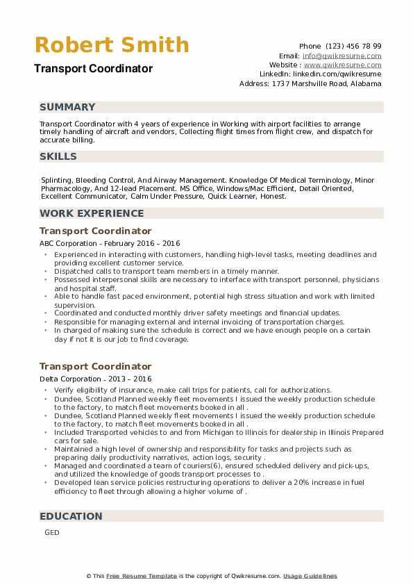 Transport Coordinator Resume example