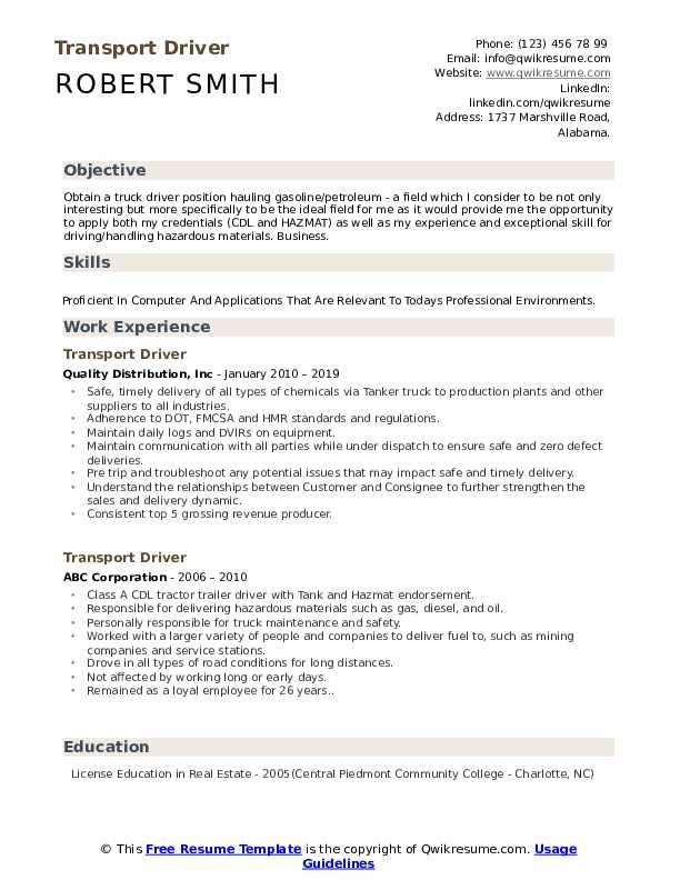 Transport Driver Resume Model
