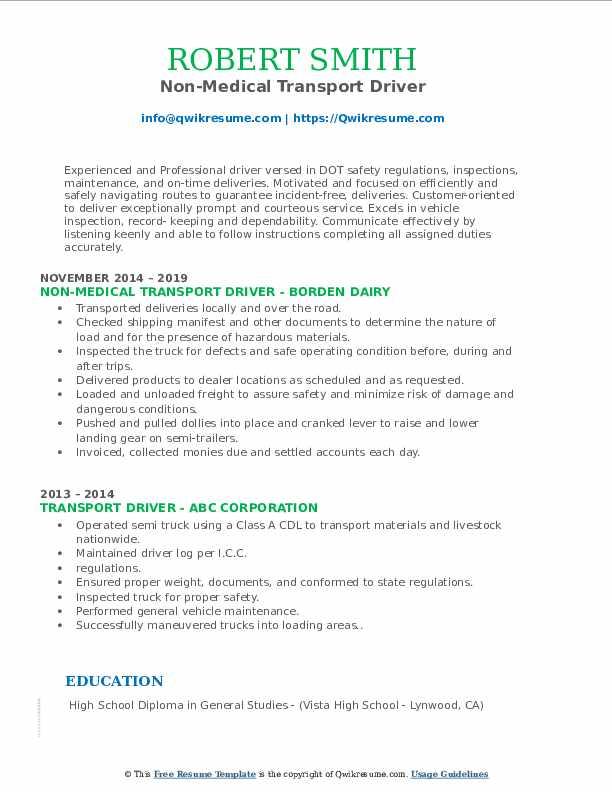 Non-Medical Transport Driver Resume Format
