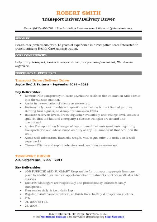 Transport Driver/Delivery Driver Resume Template
