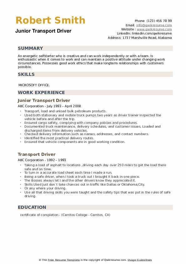 Junior Transport Driver Resume Format