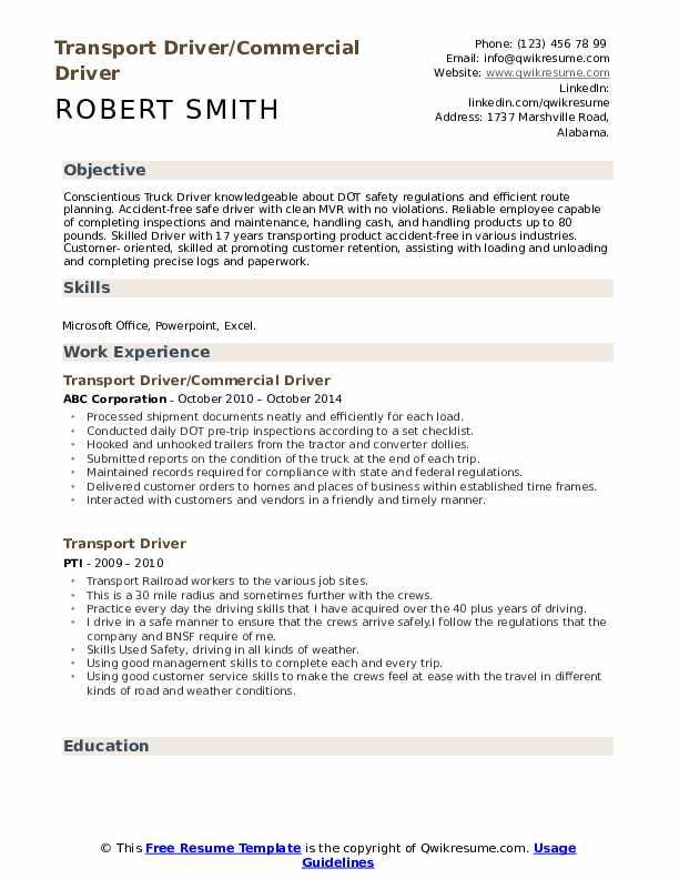 Transport Driver/Commercial Driver Resume Format
