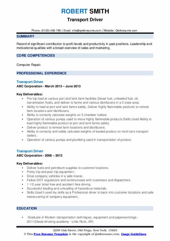 Transport Driver Resume example