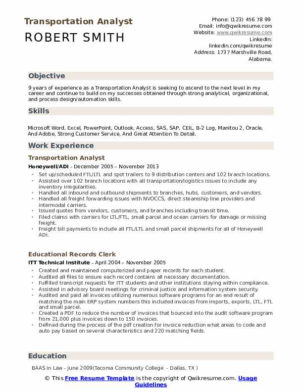 transportation analyst resume samples