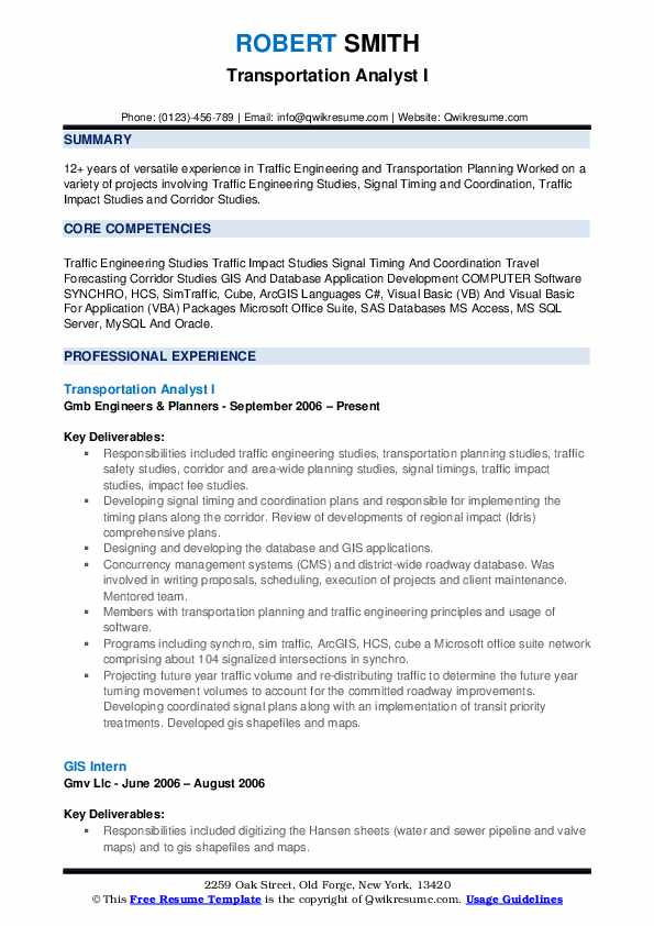 Transportation Analyst I Resume Format